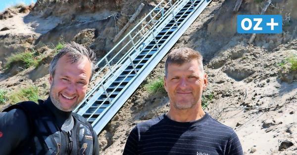 Sicherer Abstieg bei Kreptitz auf Rügen: Neue Treppe auf Rügen steht