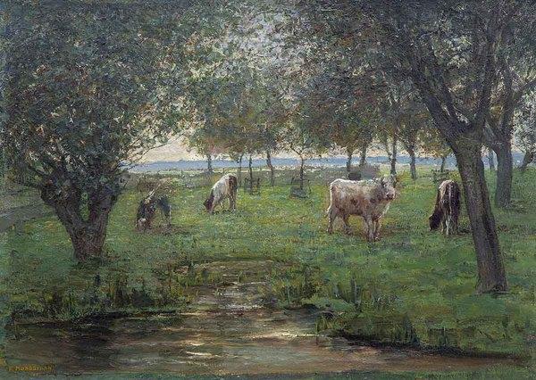 'Grazende kalfjes' ca. 1901-03 - olieverf op doek: Piet Mondriaan (Lot 160, Venduehuis der Notarissen, Den Haag)