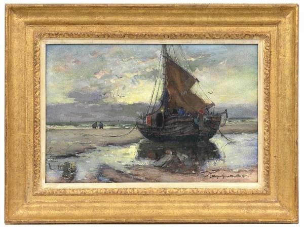 'Bomschuit op het strand' 1912 - aquarel: G.A.L. Morgenstjerne Munthe (herkomst: coll. Simonis & Buunk)