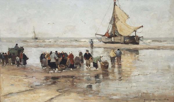 'Fishermen on the beach' -olieverf op doek: G.A.L. Morgenstjerne Munthe (2014, geveild bij Christie's Amsterdam)