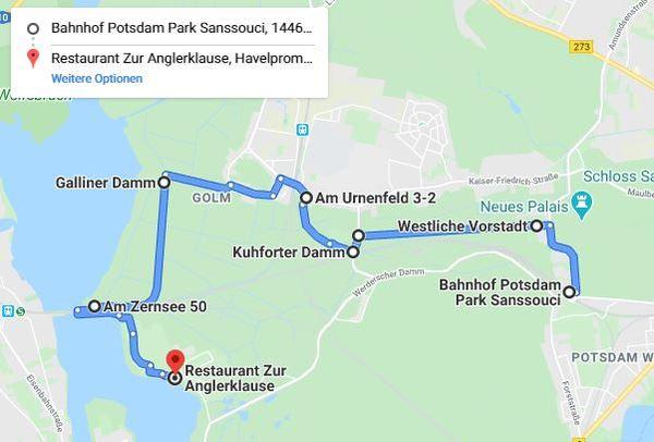 Der Hinweg: Für eine detaillierte Ansicht, klicken Sie bitte auf die Karte.