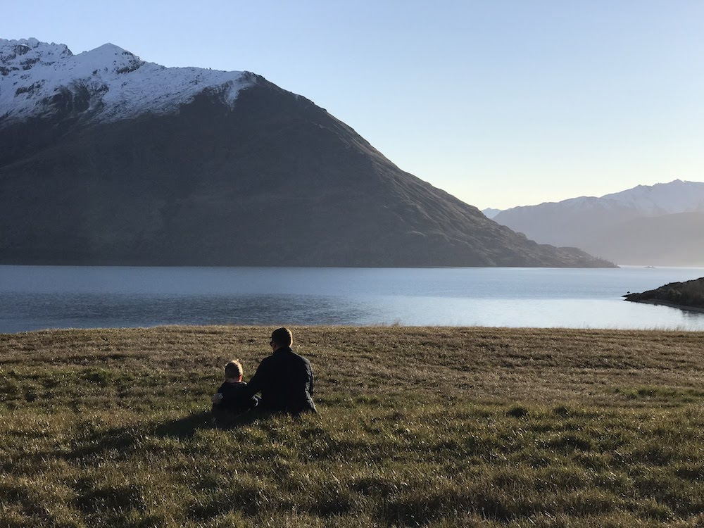 "My son & I at ""our spot"" overlooking Lake Wakatipu, New Zealand."