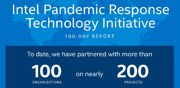 Intel has worked with 100 groups on pandemic response and invested $30 million in 100 days