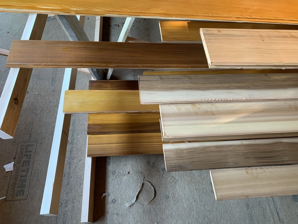 Stained and unstained boards