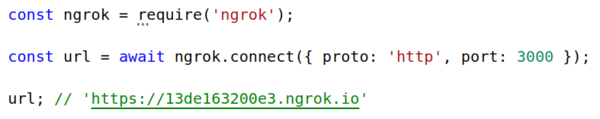Get a public URL for `http://localhost:3000` with ngrok