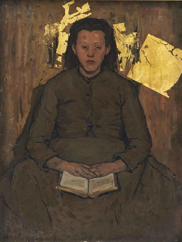 'Pietje – Lezend meisje' 1895-1898 - olieverf en bladgoud op paneel (herkomst: particuliere collectie)