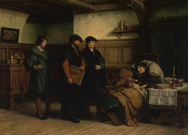 'De laatste dagen van Erasmus te Bazel met Amerbach, Frobenius en Episcopius' 1879 - olieverf op doek: H.A. van Trigt (herkomst: coll. Museum Boijmans van Beuningen