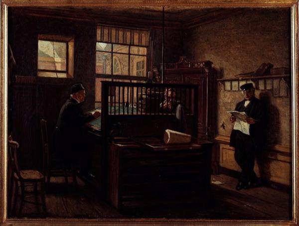 'Interieur van het kantoor van de suikerraffinaderij Spakler en Tetterode aan de Lijnbaansgracht' 1869 - olieverf op doek: H.A. van Trigt (herkomst: coll. Amsterdam Museum)