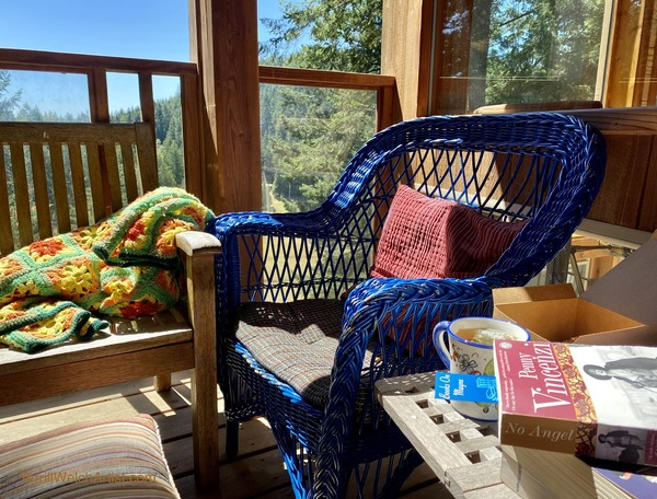 Afternoon reading corner on Terrill Welch's deck.