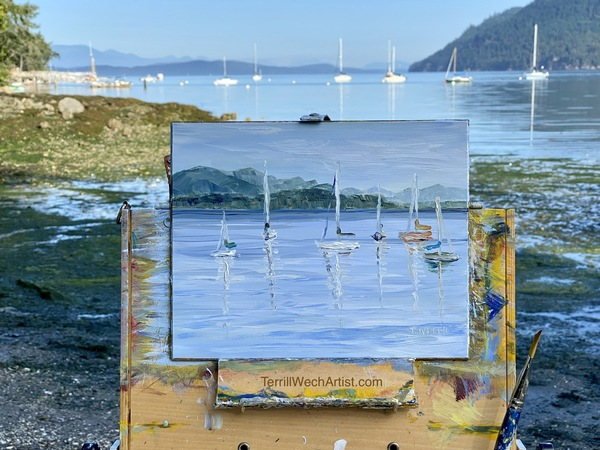 Village Bay early morning plein air by Terrill Welch.