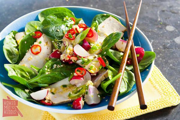 Gerookte tofu met pittige salsa van radijs (klik voor recept)