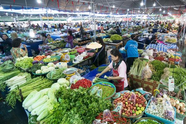 Markt in Buriram, Thailand