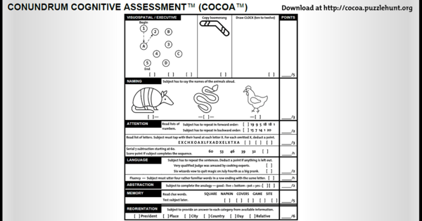 COCOA - the Conundrum Cognitive Assessment test