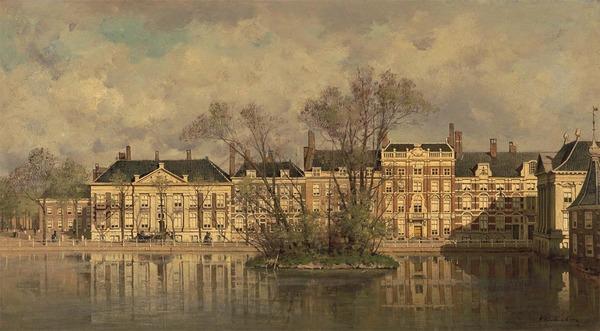 'De Korte Vijverberg, Den Haag' 1876 - olieverf op doek: Karel Klinkenberg (herkomst: coll. Boijmans van Beuningen)