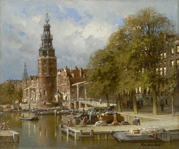 'De Montelbaanstoren bij de Kalkmarktsluis in Amsterdam' - olieverf op doek: Karel Klinkenberg (herkomst: coll. Simonis & Buunk Kunsthandel)