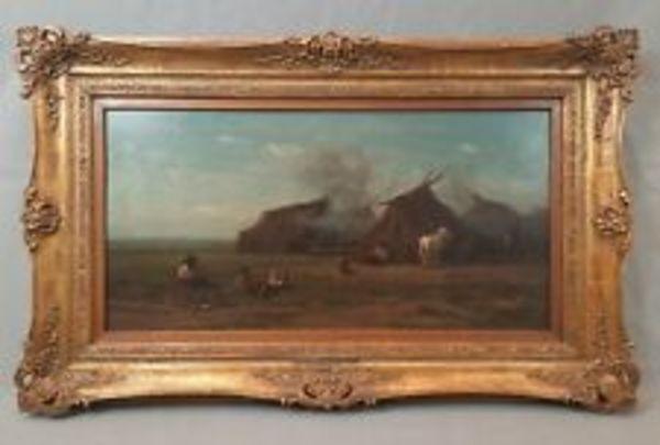 orig. Ölgemälde von Willem Roelofs 1868 Zigeuner Zelte Pferde Puszta Ölbild RAR | eBay