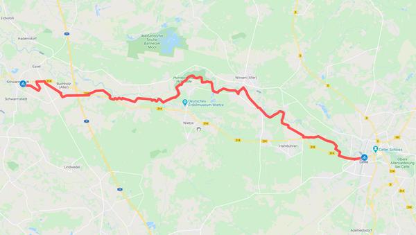 Die Strecke entlang der Aller ist 42 Kilometer lang (HAZ-Grafik: Llorens | GoogleMaps)