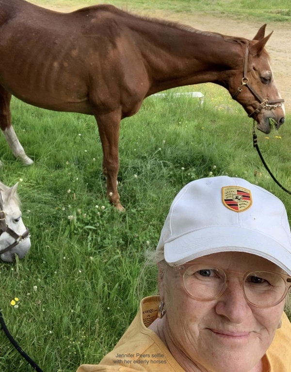 Jennifer Peers with her very elderly 29 year old mare and the pony.