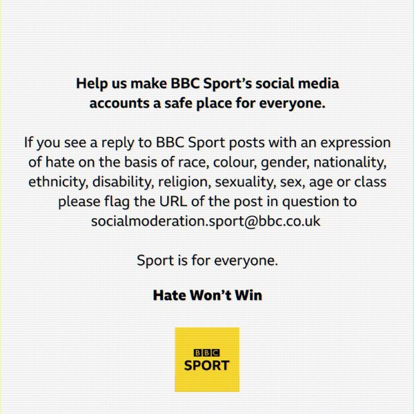 A message pinned to @BBCSport