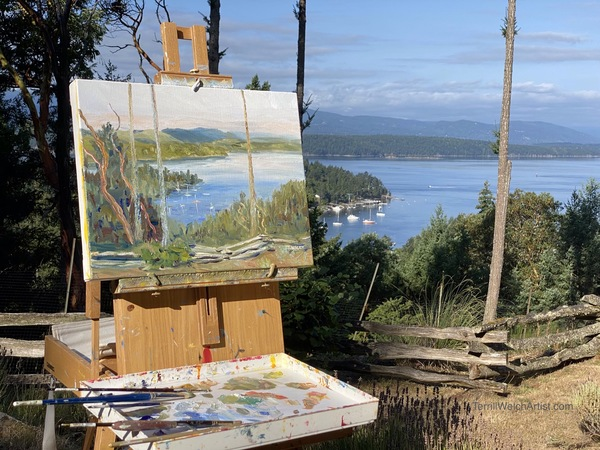 Plein air painting in progress above Village Bay by Terrill Welch.
