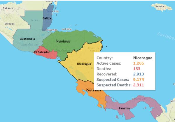 Click on the image to see updated official data. For Nicaragua, we have included suspected cases.