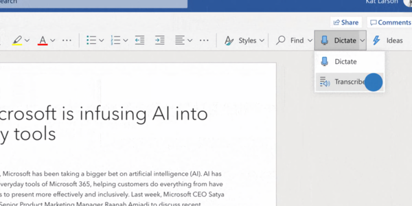 Microsoft's Transcribe in Word gives Office 365 subscribers 5 hours of transcription a month