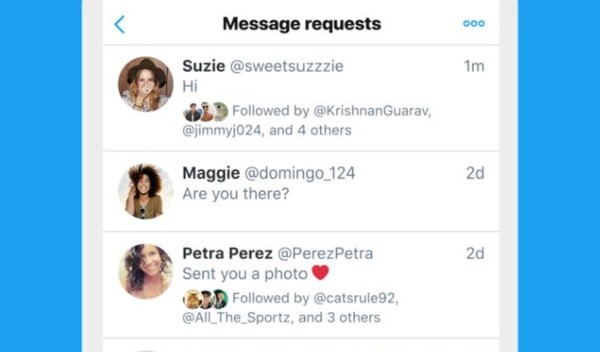 Improved Twitter message requests