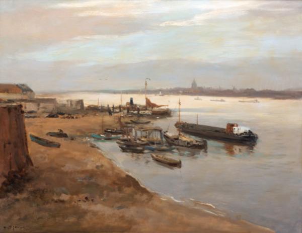 'Activities along the river Waal' - olieverf op doek: W.G.F. Jansen (kavel 601 Venduehuis, Den Haag)