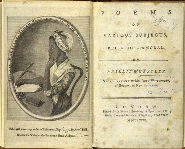 Phillis Wheatley's Poems on Various Subjects, Religious and Moral.