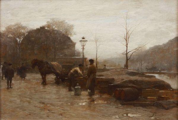 'Bezigheden op een kade in Rotterdam' - olieverf op paneel: Frederik Nachtweh (herkomst: coll. Kunsthandel Dolf D. van Omme)