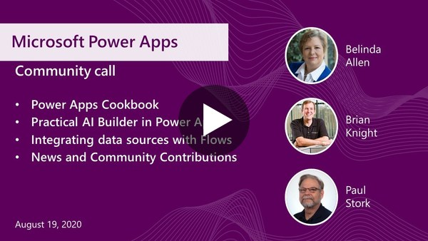 Microsoft Power Apps community call-August 2020