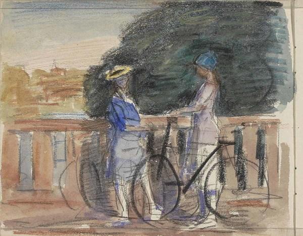 'Twee vrouwen met fietsen op een brug' - gemengde techniek: Johan Antonie de Jonge (herkomst: coll. Rijksmuseum Amsterdam)