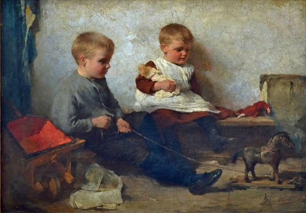 'Spielende Kinder mit Pferd' - olieverf op doek: Frederik Nachtweh (herkomst: coll. Galerie am Elisengarten, Aken)