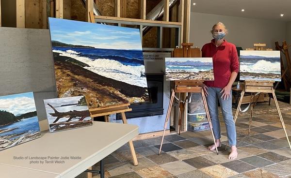 Landscape painter Jodie Waldie set up for a distancing studio visit.