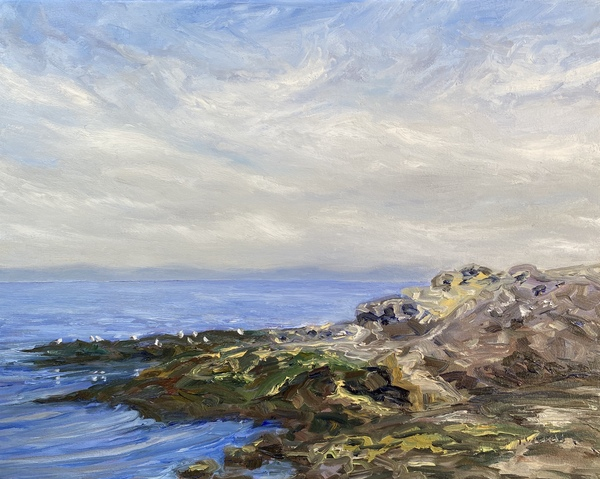 """""""Morning Sea at Georgina Point"""" resting by Terrill Welch, 16 x 20 inches."""