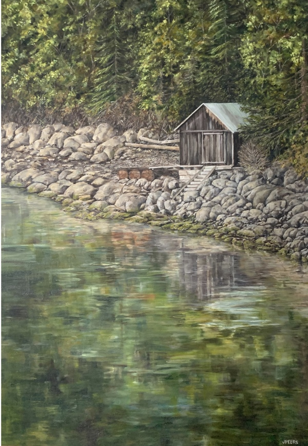 Sold - Charlie's Boathouse by Jennifer Peers 30 x 24 inch, oil on canvas.
