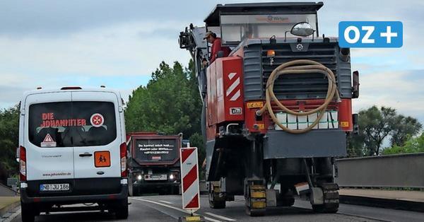 Brücken-Baustelle vor Anklam behindert den Verkehr auf der B 109