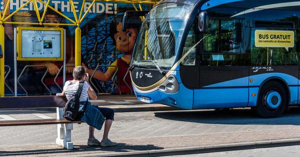 La frontière franco-belge, terminus de ce bus - les plats pays - Frans-Belgische grens, eindstation van deze bus