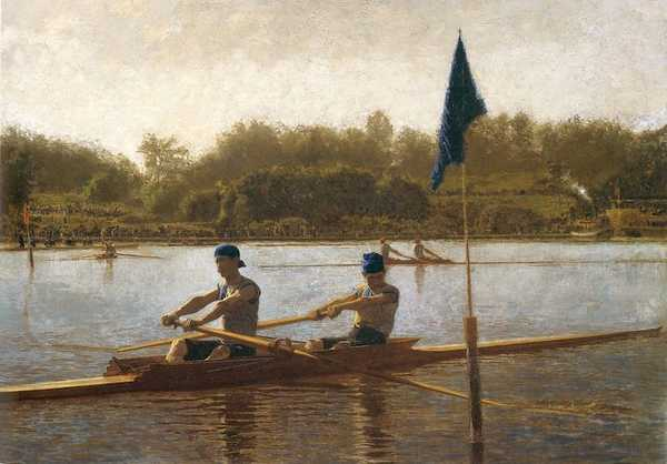 Me rowing in the good old days. (painting by Thomas Eakins)