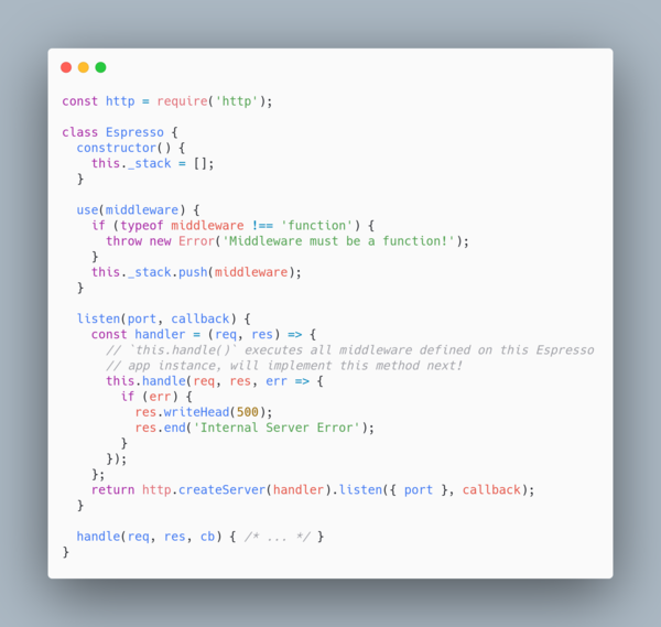 Implementing `use()` and `listen()`