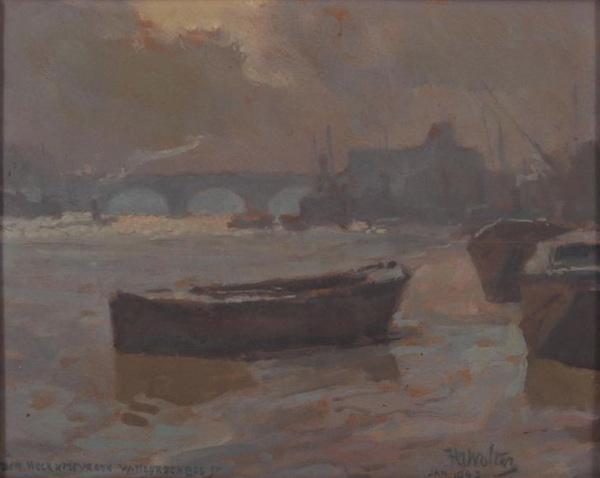 'Schepen op de rivier bij Waterloo Bridge te Londen' - gemengde techniek op board: Hendrik Jan Wolter (kavel 383, Derkseb Veilingbedrijf)