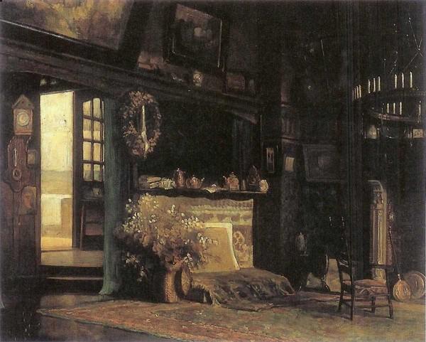 'interieur van atelier Academiesingel 20' 1912 - olieverf op doek: Bart Klunne