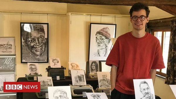 Typewriter artist James Cook's first exhibition features Hollywood stars | BBC News