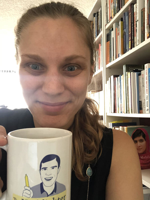 Here's VIP Elise proudly drinking her inaugural tea with her fancy new Highlighter mug. (She receives extra points for having Malala and Paul Tough's books in the background.) Are you secretly jealous?