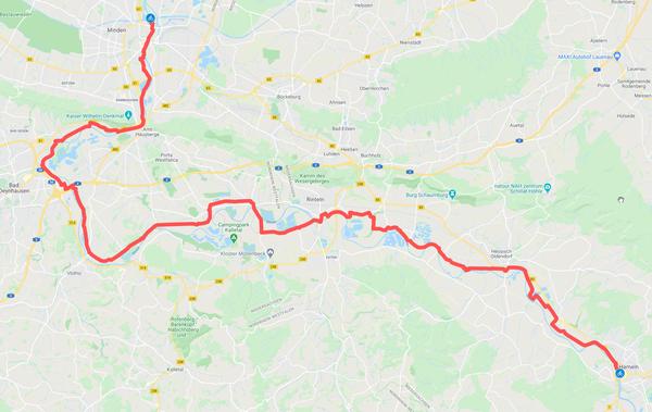 Die Strecke von Hameln nach Minden ist rund 65 Kilometer lang. (HAZ-Grafik: Llorens | GoogleMaps)