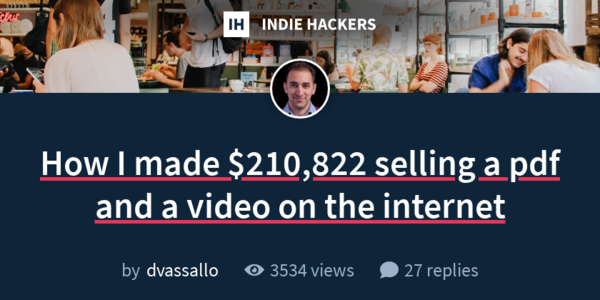 Daniel Vassallo Made $210,822 In The Past 9 Months Selling a PDF and a Video