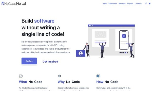 Build software without coding - 70+ no-code application development platforms and tools list, example products built without code, reviews and more. | NoCode Portal