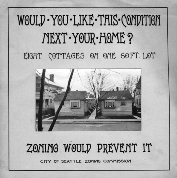 A 1923 poster advocating the adoption of single-family zoning in Seattle