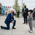 US Presidential Candidate Joe Biden kneels before Don Little