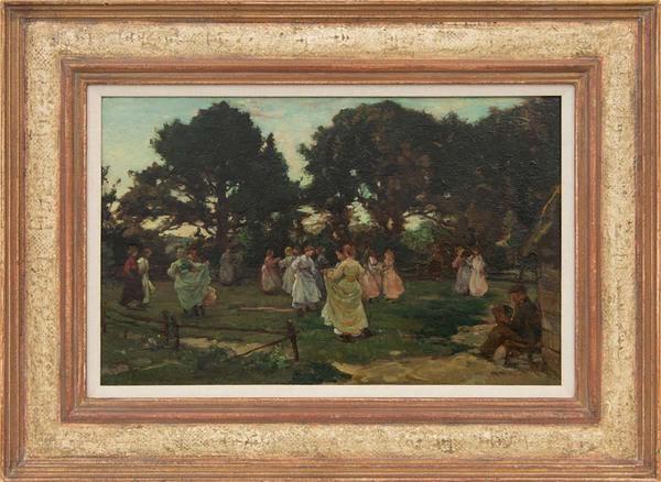 'Meidans (Wolfheze)' 1906 - olieverf op paneel: Johannes Akkeringa (Lot 49, Fischer's Auction, Ede)